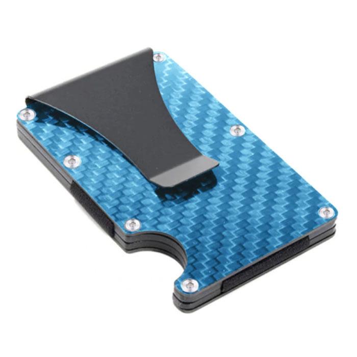 Aluminium Carbon Fiber Wallet - Portemonnee Portefeuille Pasjeshouder Krediet Kaart Geld Clip - Blauw