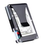 Gemeer Aluminium Carbon Fiber Wallet - Portemonnee Portefeuille Pasjeshouder Krediet Kaart Geld Clip - Rood