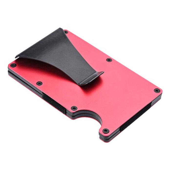 Portefeuille en fibre de carbone en aluminium - Porte-monnaie Porte-cartes Pince à billets pour carte de crédit - Rouge