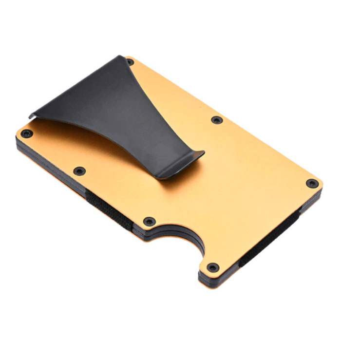 Aluminium Carbon Fiber Wallet - Portemonnee Portefeuille Pasjeshouder Krediet Kaart Geld Clip - Goud