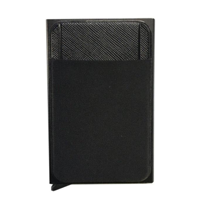Aluminium Slim Wallet - Portemonnee Portefeuille Pasjeshouder Krediet Kaart Geld Clip - Zwart