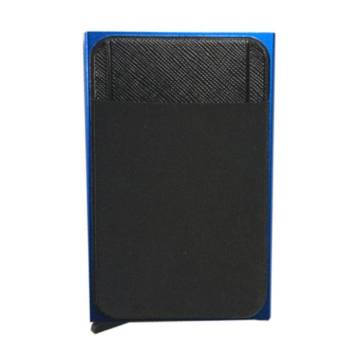 Aluminium Slim Wallet - Portemonnee Portefeuille Pasjeshouder Krediet Kaart Geld Clip - Blauw