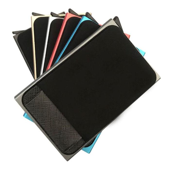 Stuff Certified® Aluminium Slim Wallet - Portemonnee Portefeuille Pasjeshouder Krediet Kaart Geld Clip - Goud