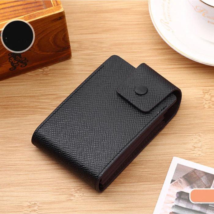 Porte-cartes en cuir PU - Portefeuille Portefeuille Portefeuille Carte de crédit - Noir