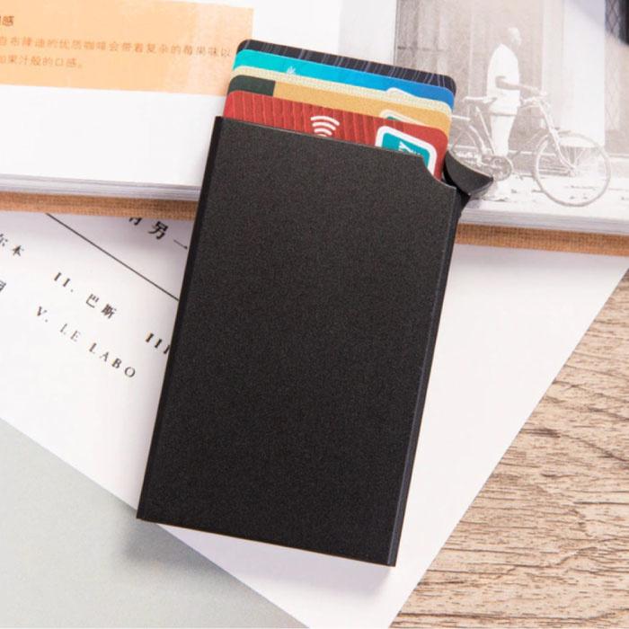 Porte-cartes en aluminium - Portefeuille antivol Portefeuille pour cartes de crédit - Noir