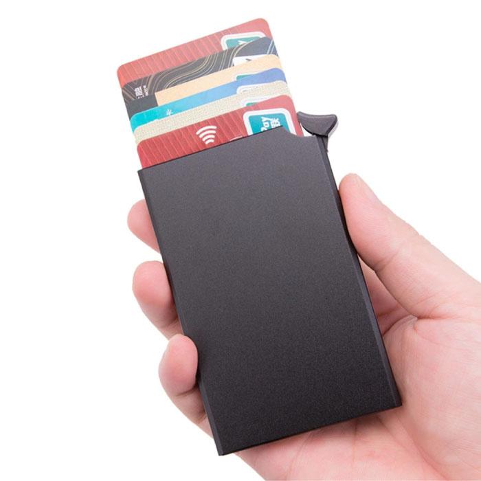 Stuff Certified® Aluminium Pasjeshouder - Anti-Diefstal Portemonnee Portefeuille Krediet Kaart Wallet - Zwart