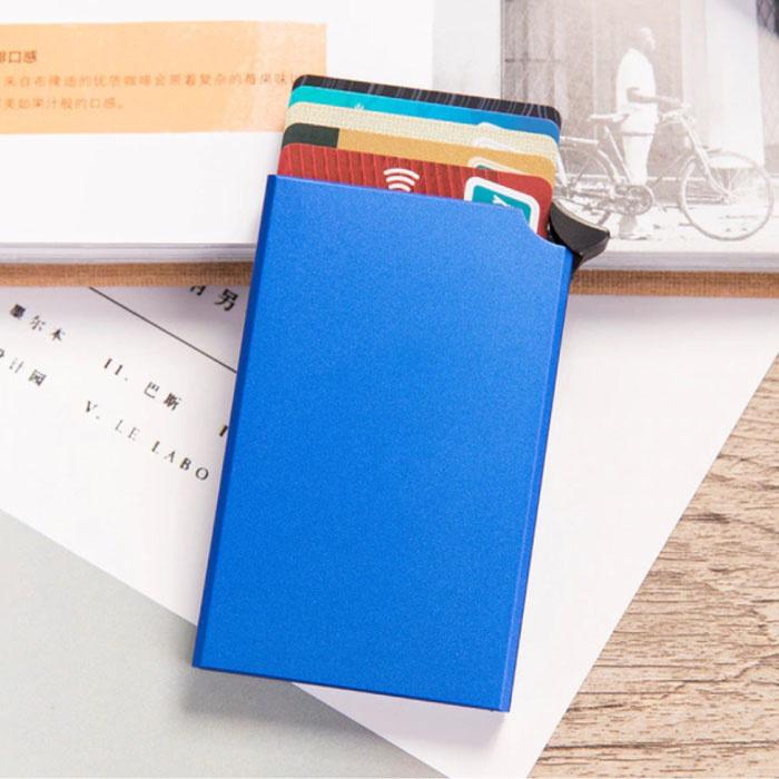 Aluminium Pasjeshouder - Anti-Diefstal Portemonnee Portefeuille Krediet Kaart Wallet - Blauw