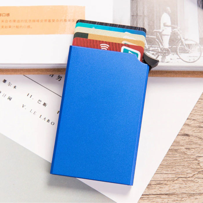 Porte-cartes en aluminium - Portefeuille antivol Portefeuille pour cartes de crédit - Bleu