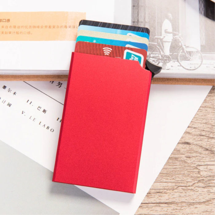 Aluminum Card Holder - Anti-Theft Wallet Wallet Credit Card Wallet - Red