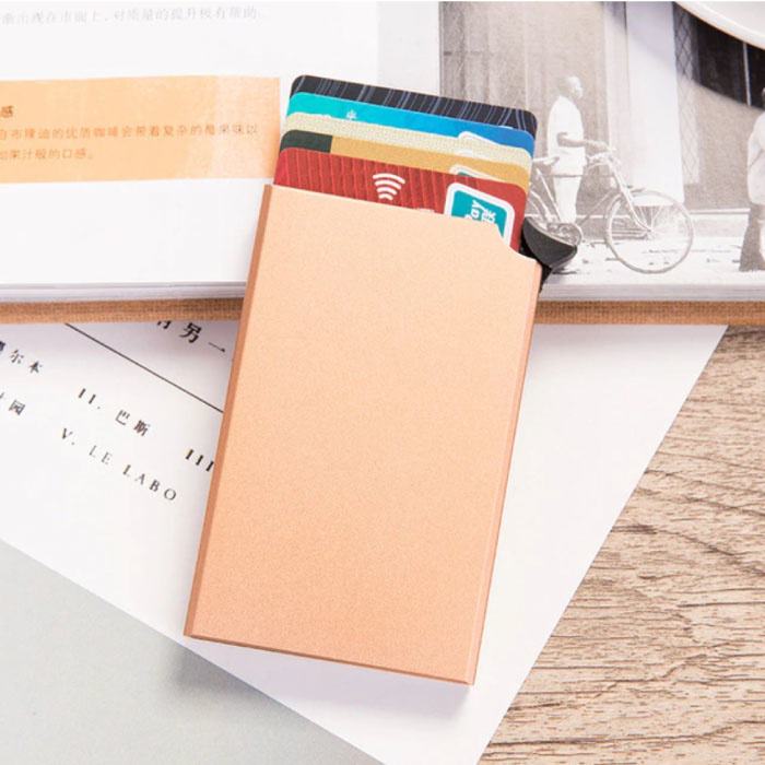 Aluminium Pasjeshouder - Anti-Diefstal Portemonnee Portefeuille Krediet Kaart Wallet - Goud