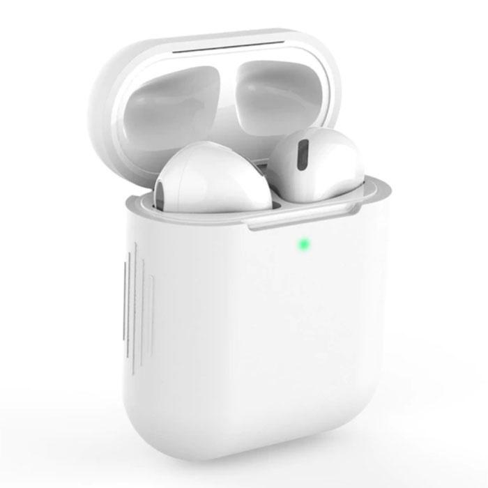 Étui flexible pour AirPods 1/2 - Housse de protection en peau de silicone AirPod lisse - Blanc