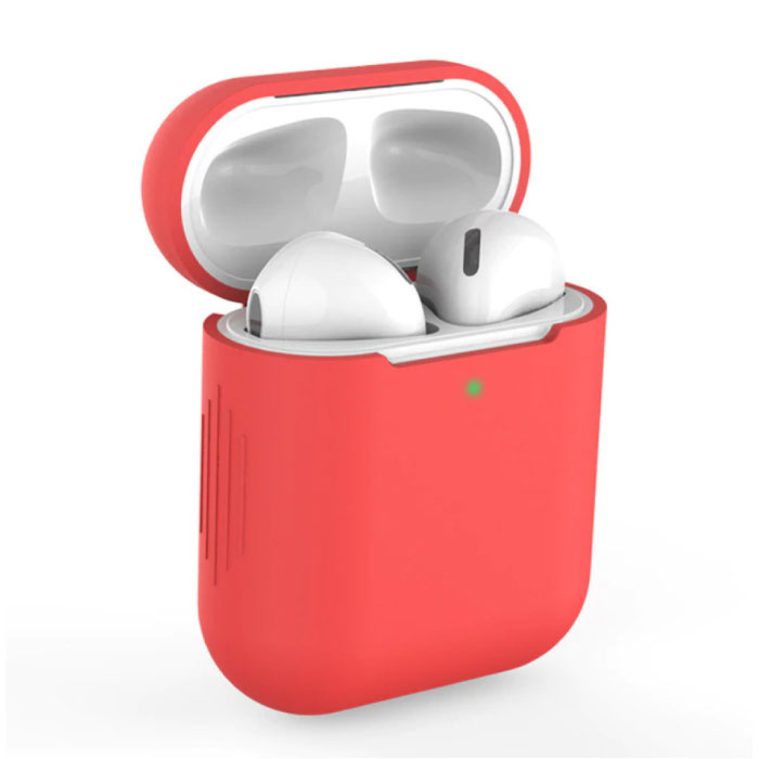 Etui Flexible pour AirPods 1/2 - Housse Etui AirPod Peau Silicone Souple - Rouge