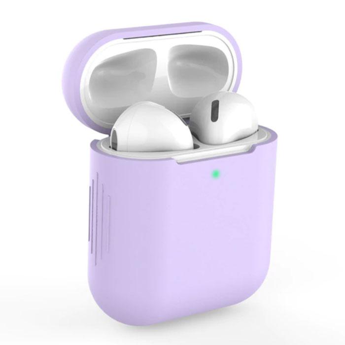 Étui flexible pour AirPods 1/2 - Housse de protection pour AirPod en peau de silicone - Violet clair