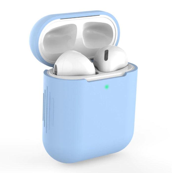Etui Flexible pour AirPods 1/2 - Housse Etui AirPod Peau Silicone Flexible - Bleu Clair