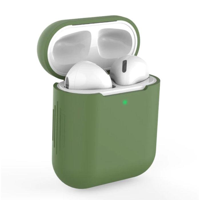Etui Flexible pour AirPods 1/2 - Housse Etui AirPod Peau Silicone Lisse - Kaki