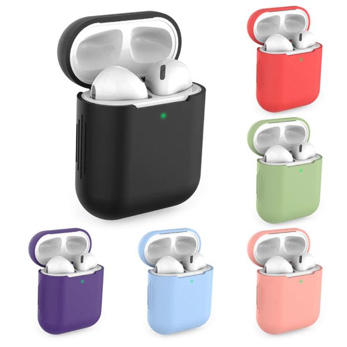SIFREE Flexibel Hoesje voor AirPods 1 / 2 - Silicone Skin AirPod Case Cover Soepel - Zwart
