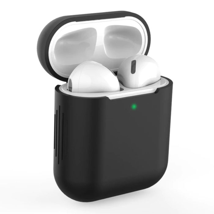 Flexible Case for AirPods 1/2 - Silicone Skin AirPod Case Cover Smooth - Black