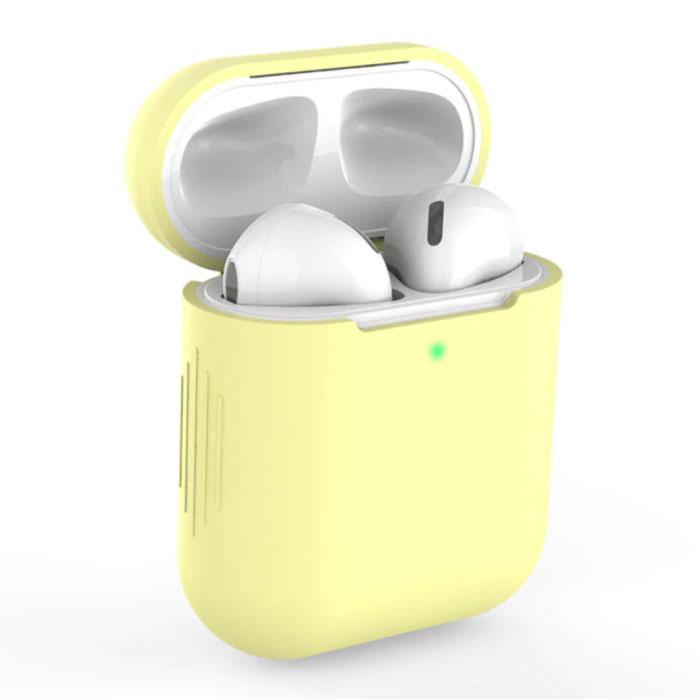 Etui Flexible pour AirPods 1/2 - Housse Etui AirPod en Peau de Silicone Flexible - Jaune