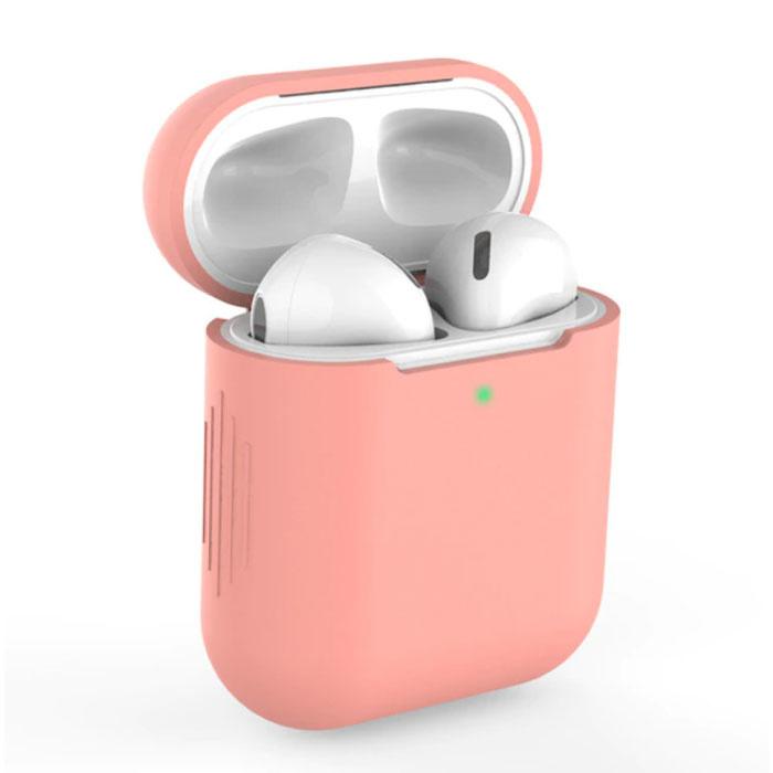 Flexibel Hoesje voor AirPods 1 / 2 - Silicone Skin AirPod Case Cover Soepel - Donker Roze