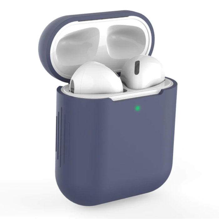 SIFREE Flexibel Hoesje voor AirPods 1 / 2 - Silicone Skin AirPod Case Cover Soepel - Donkerblauw