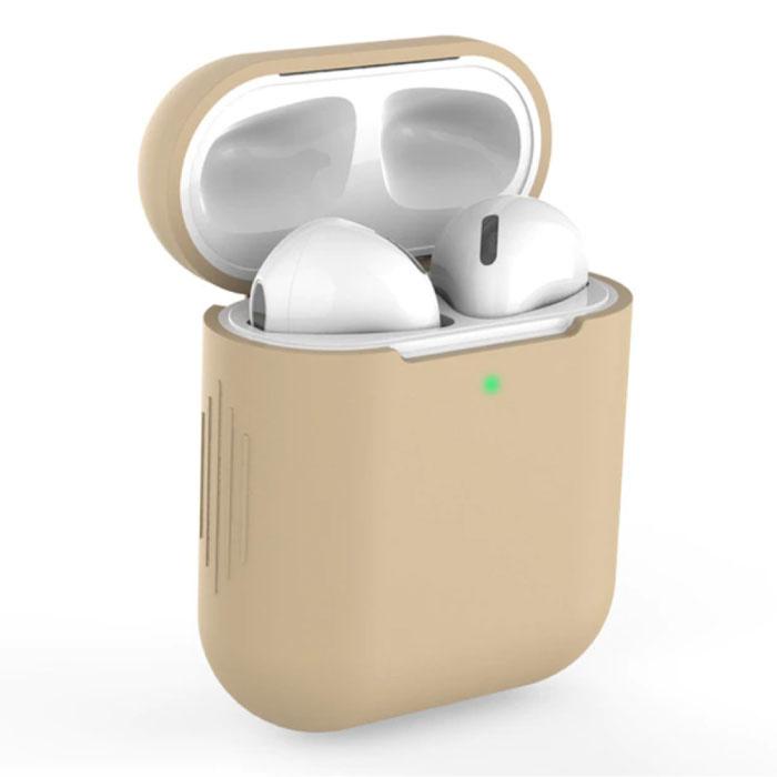 Etui Flexible pour AirPods 1/2 - Housse Etui AirPod en Peau de Silicone Flexible - Beige