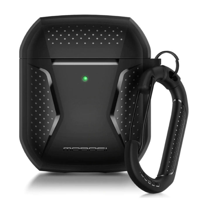 Shockproof Case for AirPods 1/2 with Carabiner - AirPod Case Cover Skin - Black