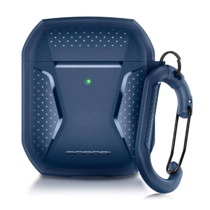 Shockproof Hoesje voor AirPods 1 / 2 met Karabijnhaak - AirPod Case Cover Skin - Blauw