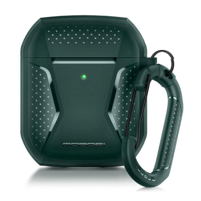 Shockproof Hoesje voor AirPods 1 / 2 met Karabijnhaak - AirPod Case Cover Skin - Groen
