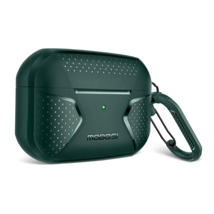 Shockproof Hoesje voor AirPods Pro met Karabijnhaak - AirPod Case Cover Skin - Groen