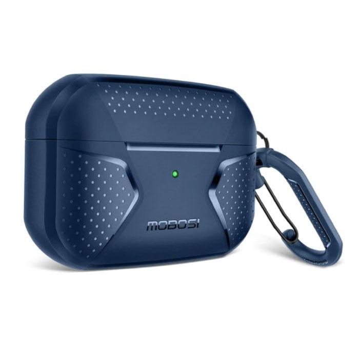 Shockproof Hoesje voor AirPods Pro met Karabijnhaak - AirPod Case Cover Skin - Blauw