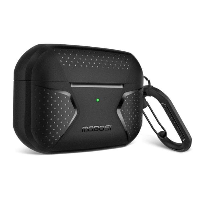 Shockproof Hoesje voor AirPods Pro met Karabijnhaak - AirPod Case Cover Skin - Zwart