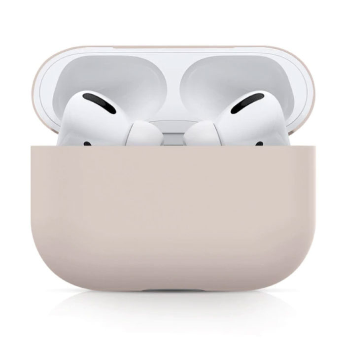 Flexible Case for AirPods Pro - Silicone Skin AirPod Case Cover Flexible - Beige