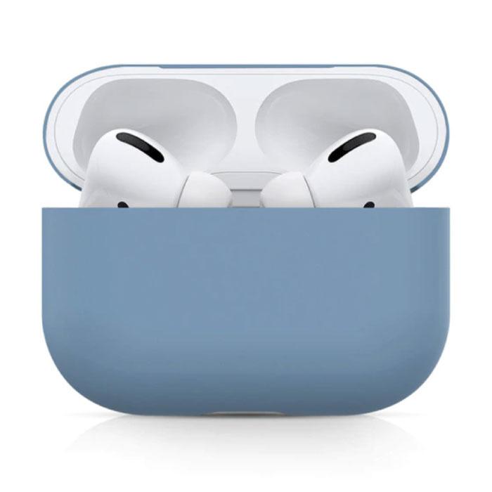 Étui flexible pour AirPods Pro - Housse de protection pour AirPod en peau de silicone lisse - Bleu