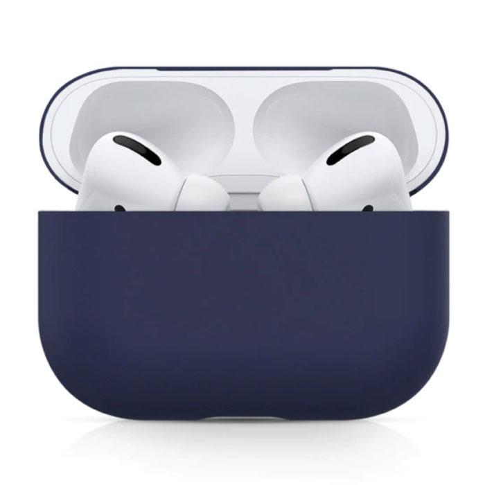 Étui flexible pour AirPods Pro - Housse de protection pour AirPod en peau de silicone - Bleu foncé