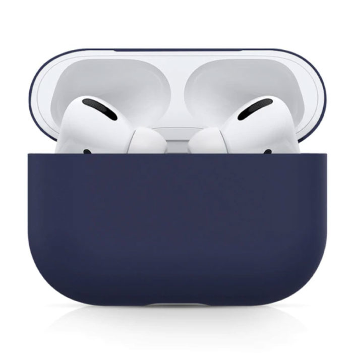 Flexibel Hoesje voor AirPods Pro - Silicone Skin AirPod Case Cover Soepel - Donkerblauw