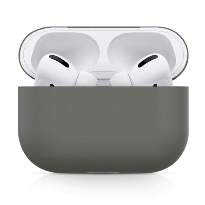 Flexibel Hoesje voor AirPods Pro - Silicone Skin AirPod Case Cover Soepel - Donkergrijs