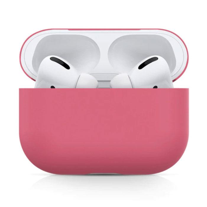 Étui flexible pour AirPods Pro - Housse de protection pour AirPod en peau de silicone lisse - Rose foncé