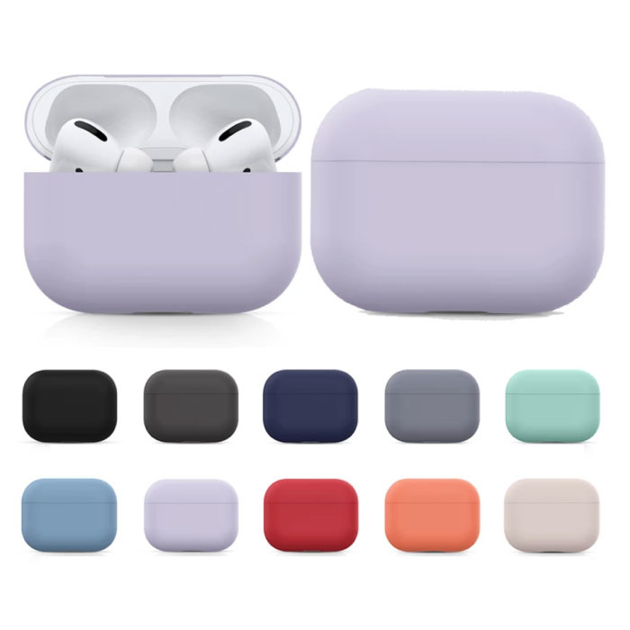 SIFREE Flexibel Hoesje voor AirPods Pro - Silicone Skin AirPod Case Cover Soepel - Lichtgrijs