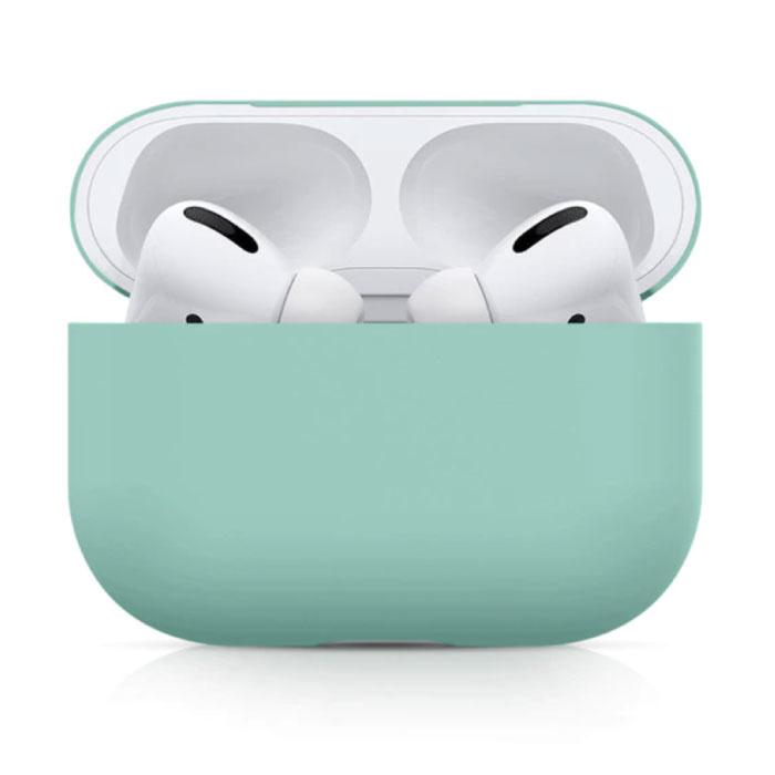 Étui flexible pour AirPods Pro - Housse de protection en peau de silicone AirPod lisse - Vert clair