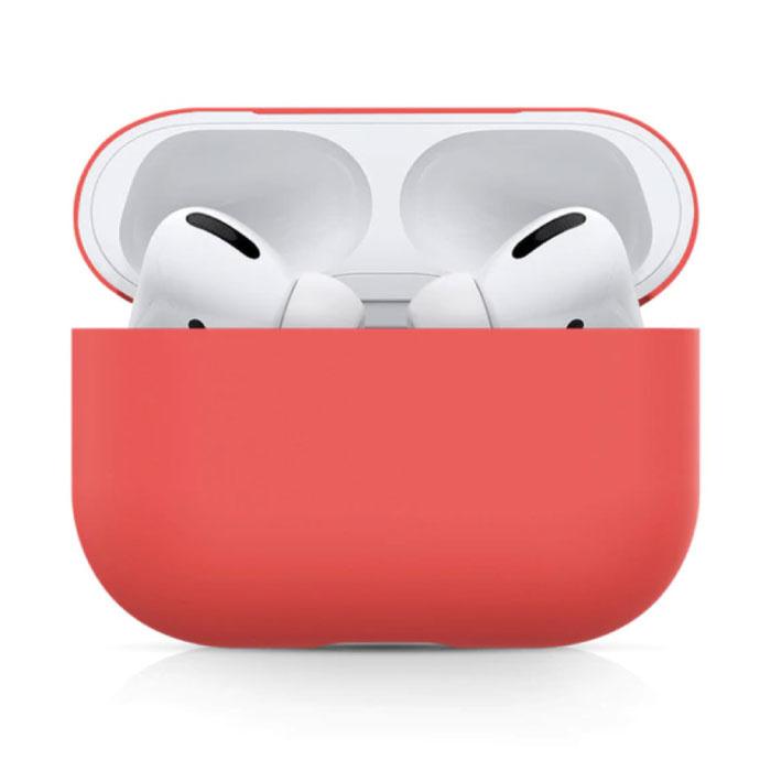 Étui flexible pour AirPods Pro - Housse de protection en peau de silicone AirPod lisse - Rouge clair