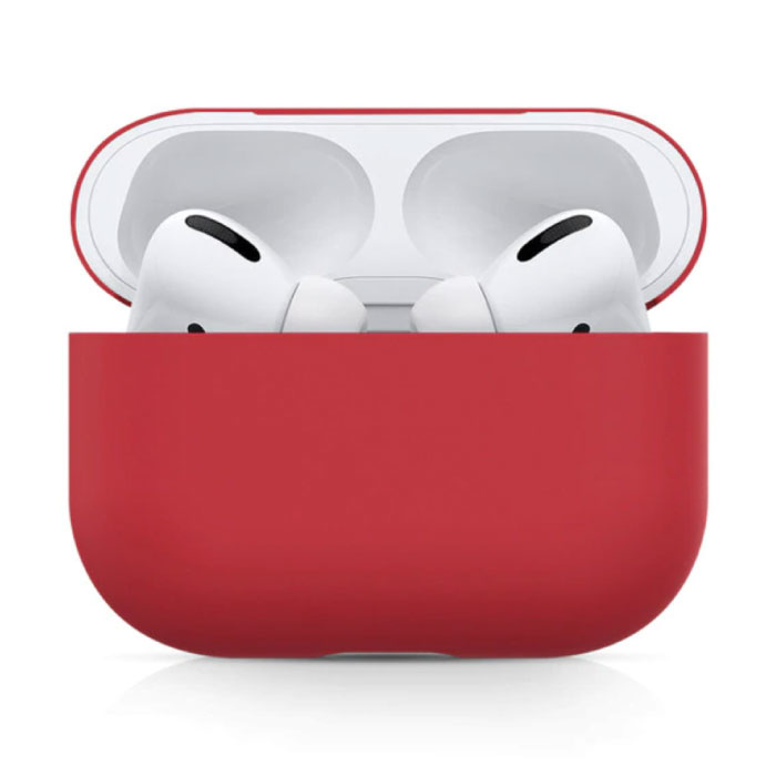 Flexibles Gehäuse für AirPods Pro - AirPod-Gehäuseabdeckung aus Silikonhaut Flexibel - Rot