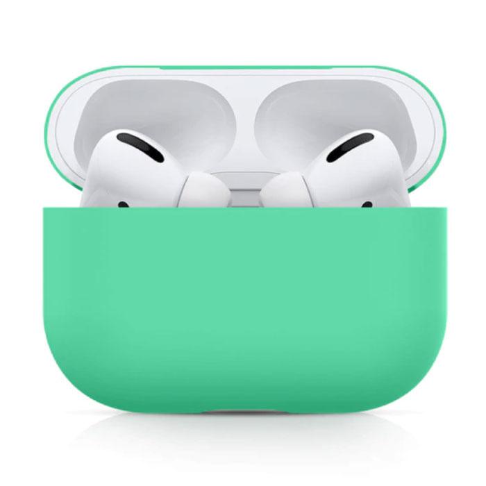 Étui flexible pour AirPods Pro - Housse de protection en peau de silicone AirPod lisse - Turquoise