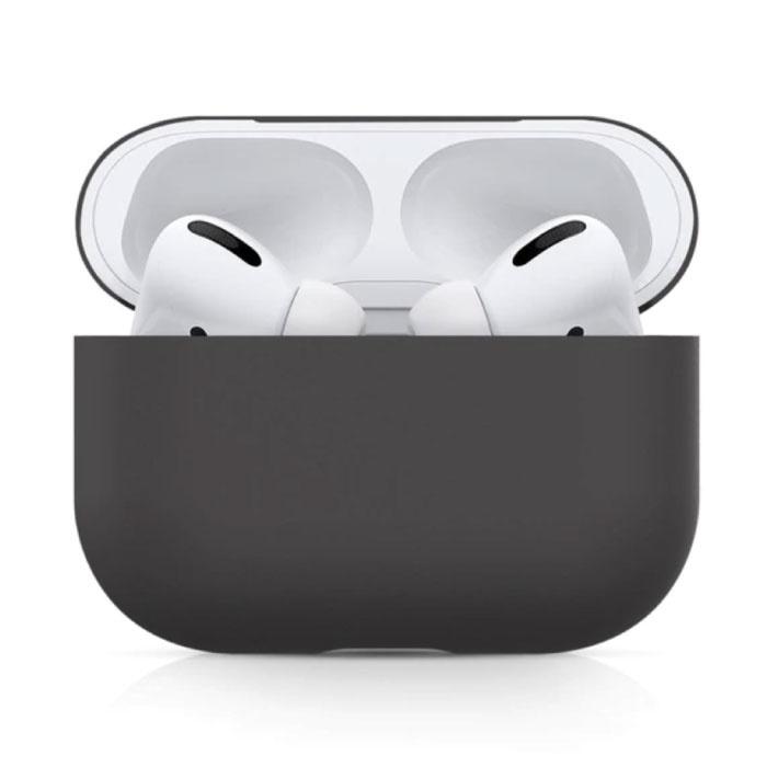 Étui flexible pour AirPods Pro - Housse de protection pour AirPod en peau de silicone lisse - Noir