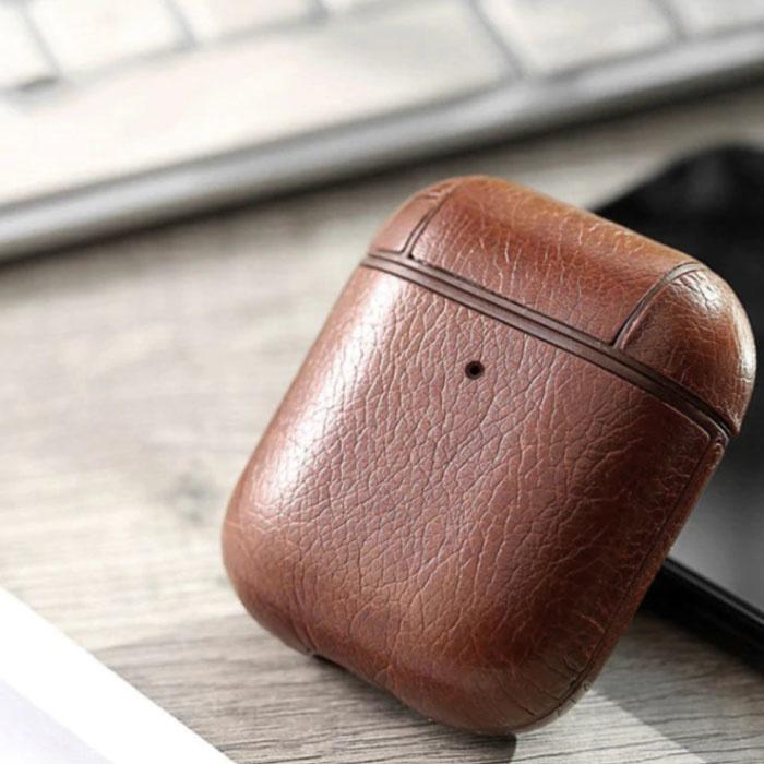 Leren Luxe Hoesje voor AirPods 1 / 2 - Leather Skin AirPod Case Cover - Bruin