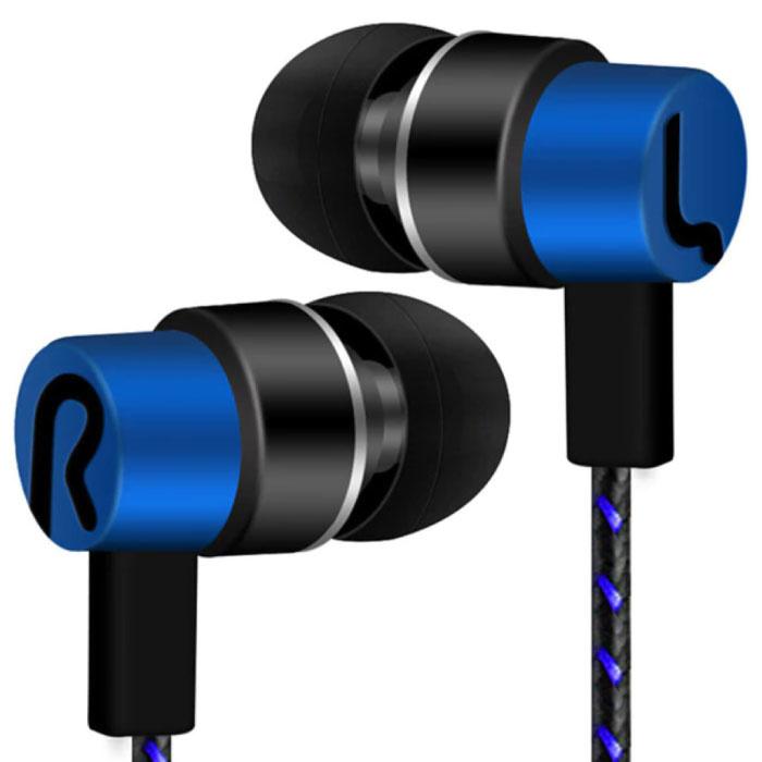 3.5mm AUX Oordopjes Oortjes Wired Earphones Oortelefoon Blauw