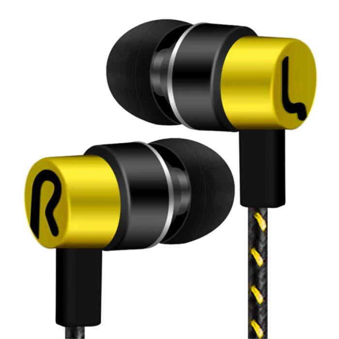 3.5mm AUX Oordopjes Oortjes Wired Earphones Oortelefoon Goud