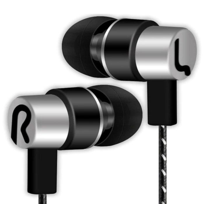 3.5mm AUX Oordopjes Oortjes Wired Earphones Oortelefoon Zilver