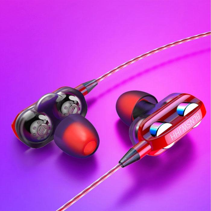 Bluelans Dual Driver Oordopjes AUX 3.5mm - Oortjes Wired Earphones Oortelefoon Rood