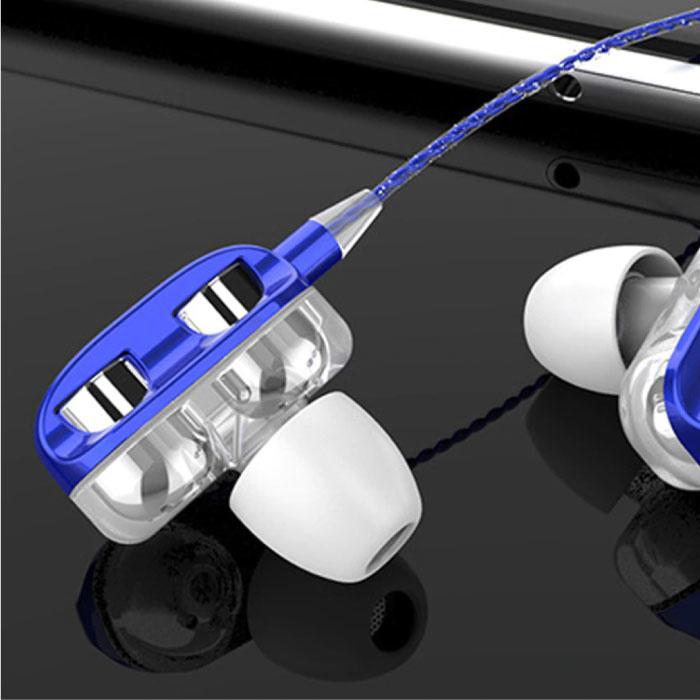 Bluelans Dual Driver Oordopjes AUX 3.5mm - Oortjes Wired Earphones Oortelefoon Blauw