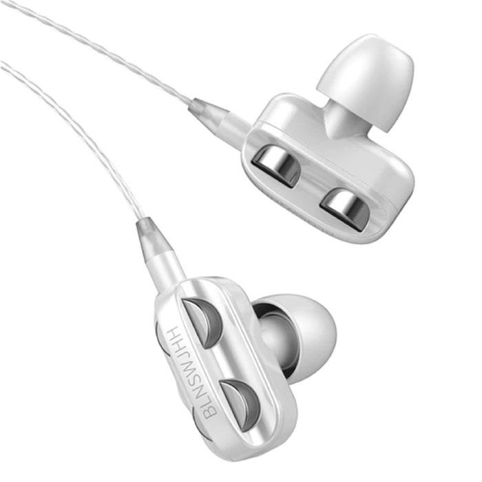 Dual Driver Oordopjes AUX 3.5mm - Oortjes Wired Earphones Oortelefoon Wit